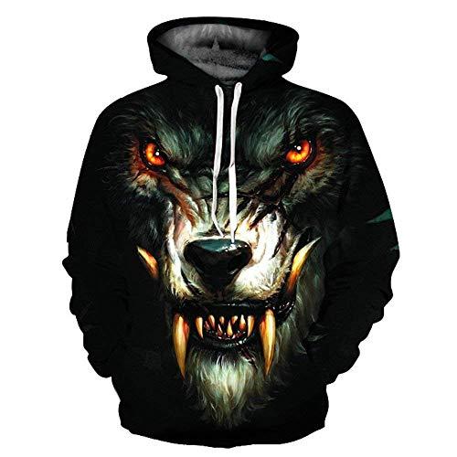 Con Tasche Stampa nbsp; Casual Giovane Elegante Moda 3d Wolf Anteriori Cappuccio Hoody Unisex Autunno Lunga Shirt Manica Pullover Coulisse Hop Sport Giaccone Hip rq4r7
