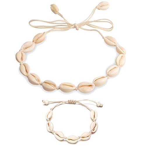 WAINIS 2PCS Bohemian Pearl Shell Beads Beach Choker Handmade Hawaii Wakiki Clavicle Necklace Set for Women Girls