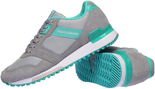 Paperplanes-1329 Unisex Casual Mesh Cross Trainer Sneakers Gray Mint 9WKHi