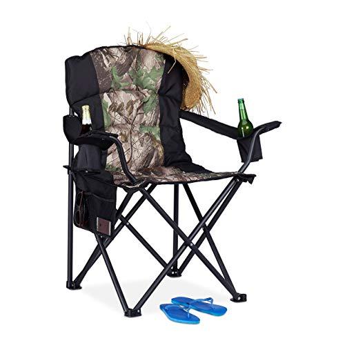 Relaxdays, zwart-groene campingstoel, inklapbare visstoel met 2 bekerhouders en zijvak, draagbaar, tot 113 kg