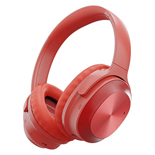 Active Noise Cancelling Headphones, Letscom Bluetooth Headphones with Mic Deep Bass Wireless Headphones Over Ear, 25H Playtime, Soft Protein Earpads for Travel Work TV PC Cellphone – Red