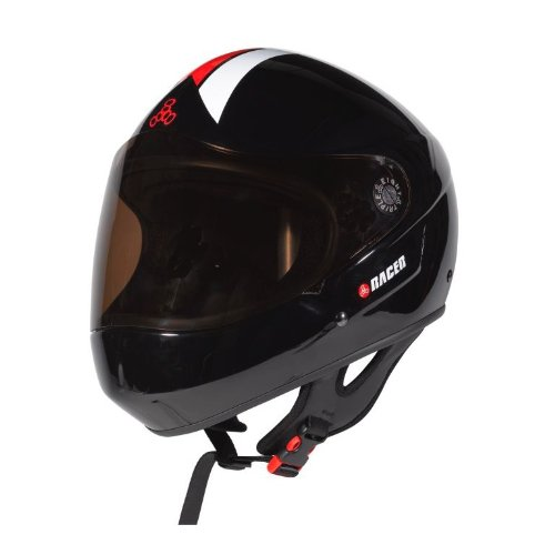 Triple 8 Downhill Racer Helmet (Black Gloss, Small/Medium) by Triple Eight