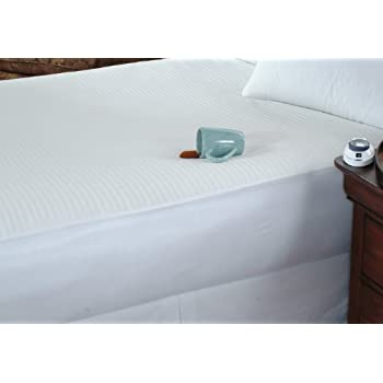 Soft Heat Waterproof and Stain Repellant Low-Voltage Electric Heated Queen Mattress Pad, White
