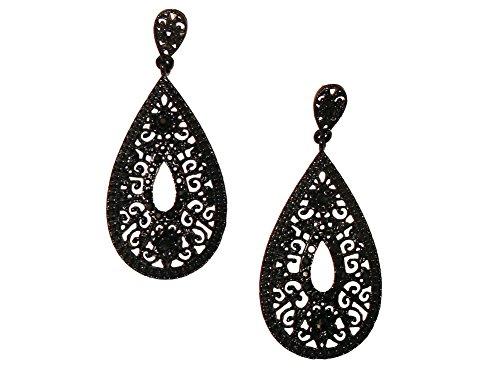 Extra Long Victorian Goth Floral Open Work Filigree Black Teardrop Earrings w/ Black Rhinestones 2 ()