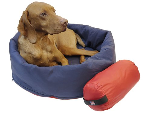 Noblecamper 2-in-1 Dog Bed and Sleeping Bag - (Red/Blue, Small (22