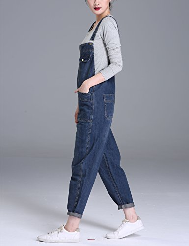 Yeokou Women's Casual Denim Cropped Harem Overalls Pant Jeans Jumpsuits, Blue, X-Large by Yeokou (Image #2)
