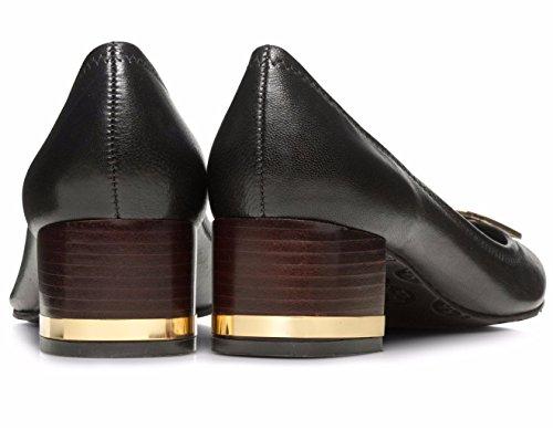 a36e04657 Tory Burch Amy Shoes Heels Leather metal logo (9.5, Black Gold ...
