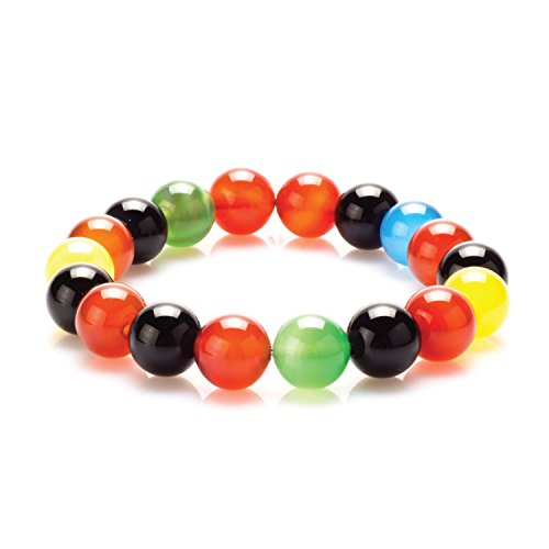 City Pierce Bracelet Multi-Color Agate Faceted Stone Beads Natural Healing Stone