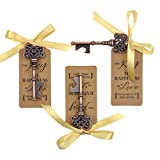 DerBlue 60 PCS Key Bottle Openers,Vintage Skeleton Key Bottle Opener, Wedding Favors Key Bottle Opener Rustic Decoration with Escort Tag Card and Gold Ribbon