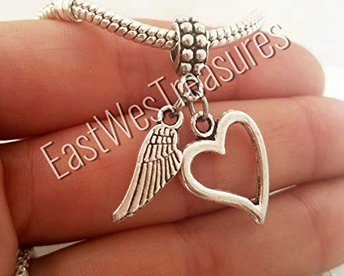 Forever In my heart angel wing loss memorial charms for charm bracelet and chain necklace