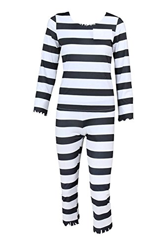 ZYHCOS Cosplay Costumes Black White Striped Prisoner Uniform Halloween Jumpsuit Suit (Mens-M) -