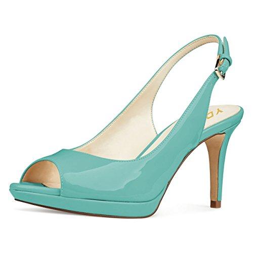 YDN Women Formal Peep Toe Platform Pumps Mid Heels Slingback Office Shoes with Buckle Turquoise 8 - Slingback Platform Pumps