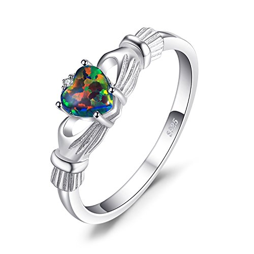 JewelryPalace Heart 0.6ct Irish Celtic Claddagh Created Black Opal Birthstone Promise Ring 925 Sterling Silver Size 6