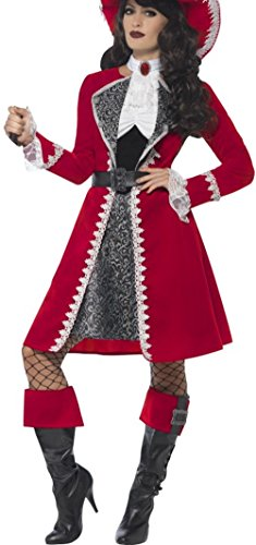 Pirate Lady Plus Size Costumes (Smiffy's Women's Deluxe Authentic Lady Captain Costume, Dress, Jacket, Neck Tie & Boot Covers, Pirate, Serious Fun, Plus Size 18-20, 45533)