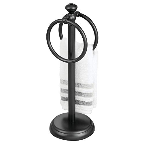 mDesign Decorative Metal Fingertip Towel Holder Stand for Bathroom Vanity Countertops to Display and Store Small Guest…