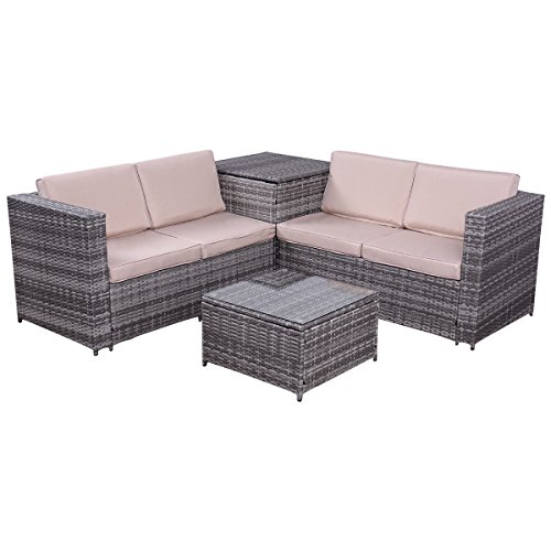 Art Deco Sectional Sofa - Shining Patio Rattan Wicker Furniture Set Sofa Loveseat Cushioned with Storage Box 4 PCS