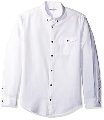 Calvin Klein Jeans Men's Long Sleeve Dobby Mixed Media Button Down Shirt