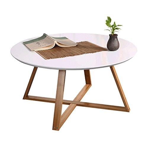 Mesas de Centro Mesa redonda mesita de té mesa de centro sala de estar dormitorio mesa auxiliar patas de bambú + diseño de la superficie de corte (Color : Blanco, Size : 80*80*44cm)