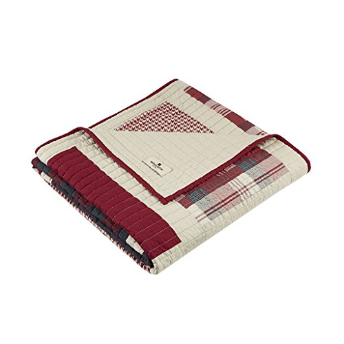Woolrich Huntington Luxury Quilted Throw Red 50x70   Plaid Premium Soft Cozy 100% Cotton For Bed, Couch or Sofa