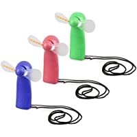 AISme Portable Mini Handheld Cooling Fan Colorful LED Light Battery Power With Strap (Random Color)