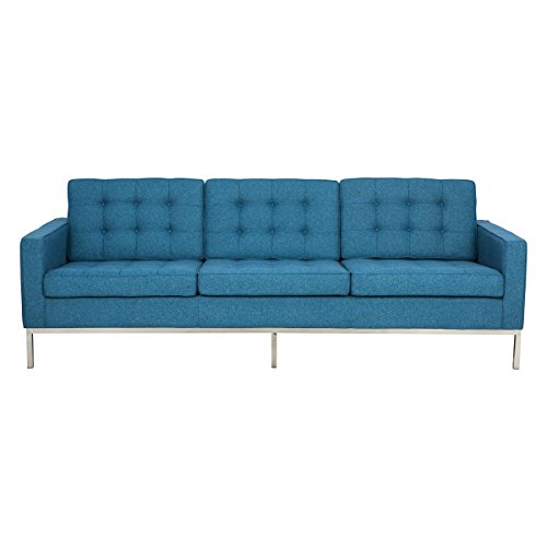 LeisureMod Modern Florence Style Sofa in Blue Houndstooth Twill Wool