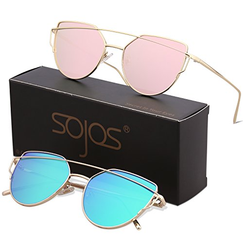 SojoS Cat Eye Mirrored Flat Lenses Street Fashion Metal Frame Women Sunglasses SJ1001 with SJ1001C2Gold/Pink and SJ1001C9Gold/Green for $<!--$14.98-->