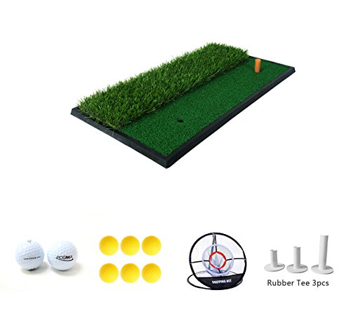 POSMA HM020A 30x60cm Golf Practice Double Side Hit Mat bundle Gift set with 3pcs Rubber Tee + 2pcs Tour Balls + 6pcs Golf Balls + 1pc Portable Golf Chipping Hitting Net for indoor by POSMA