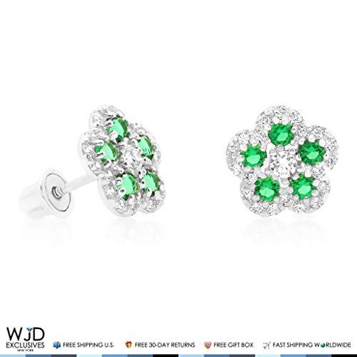 (0.50Ct Diamond & Emerald Flower Shape Cluster Stud Earrings 14k White Gold 8mm)