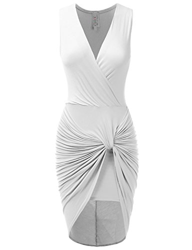 Doublju Sleeveless Surplice Deep V-Neck Draped Tank Dress WHITE SMALL