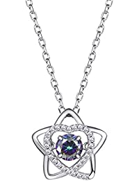 925 Sterling Silver Lucky Star & Cubic Zirconia Heart Pendant Necklace
