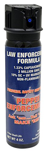 Pepper Enforcement Foam Self Defense 10% OC Pepper Spray - Max Strength Law Enforcement Grade Formula - 4-Ounce Canister w/Safety Flip Top - 4-Year Shelf Life by Pepper Enforcement (Image #1)