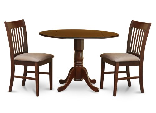 East West Furniture DLNO3-MAH-C 3-Piece Kitchen Table Set, Mahogany Finish