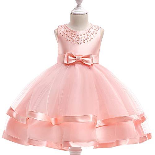 - Kids Child Elegant Handmade Beaded Girl Dress Girls Floral Party 3-10 Years Tutu Summer Baby Clothing Pink 6