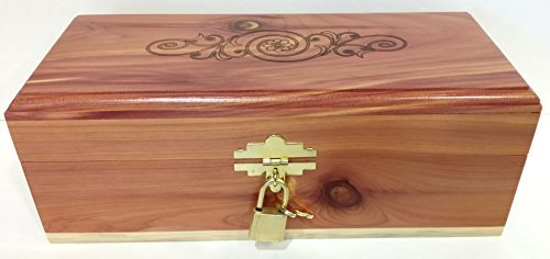 Cedar-Essence-Keepsake-or-Memory-Box-95L-x-4W-x-35H-with-Lock-and-Key-with-Design-on-top-of-the-Lid