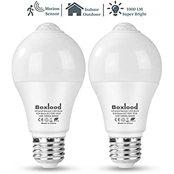 Boxlood Motion Sensor Light Bulb, Automatic Activated by Movement Security LED Bulb Lamp, 12W(100W Equivalent), A19/E26/120V/6000K Daylight for Front Door ...