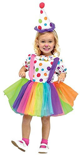 Fun World Costumes Baby Girl's Big Top Fun Toddler Costume, White, (Child Big Top Clown Costumes)
