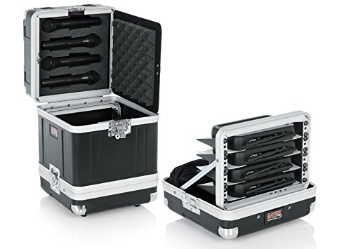 Gator Cases Microphone Hard Case; Holds (4) Wireless Microphone Systems with Half Rack Shelves and Storage for (4) Handheld Recievers - Wireless Holder Large