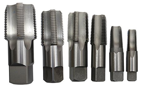 Drill America DWTPT1/4-1-1/4SET 6 Piece Carbon Steel NPT Pipe Tap Set 1/4