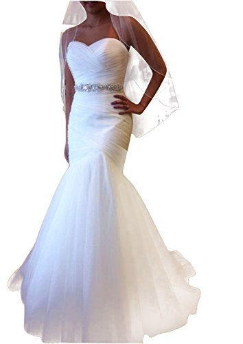 charmingbridal Mermaid Strapless Wedding Dress Bridal Gowns Belt WD002 by CharmingBridal