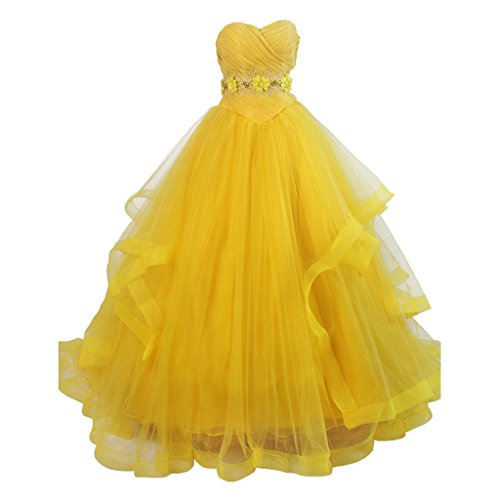 CosplayDiy Women's Dress for Beauty and the Beast Belle Cosplay M (Belle Dress Adult)