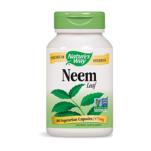 Nature's Way Premium Herbal Neem Leaf 475 mg, 100 Vcaps (Packaging May Vary)