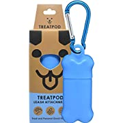 TreatPod Treat Container - Leash Storage Solution & Portable Training Aide ... (Blue)