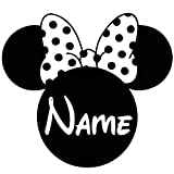 Basic Vinyl® - Vinyl Decal Wall Art - Personalized Custom Minnie for childs room (22 inch wide, Matte Black)
