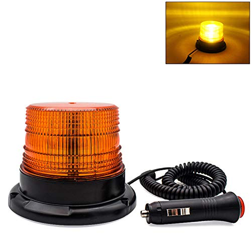 ConsWin Amber/Yellow LED Strobe Beacon Light,Emergency Warning Vehicle Light with DC10-80V Cigarette Lighter Plug for Cars and Trucks