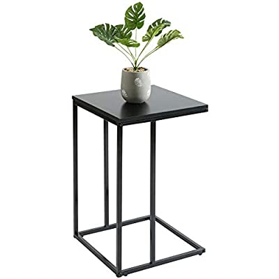 """HollyHOME C Shaped Side Snack Table with Wood Finish and Steel Construction,15.7""""x 15.7""""x24""""Best Heavy-Duty Armchair Couch Tables That Slide Under for Your Living Room,Black"""
