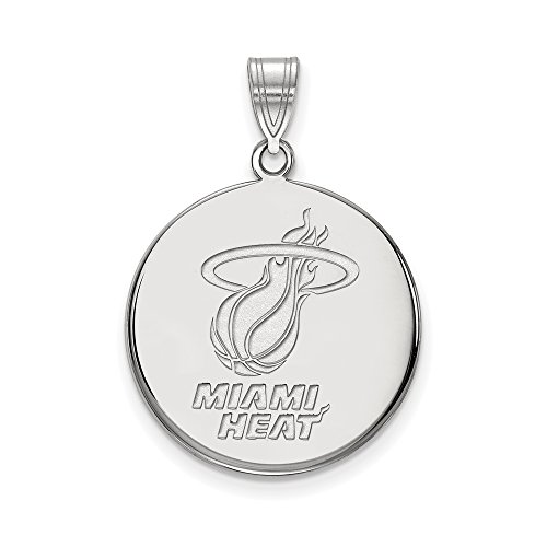 NBA Miami Heat Large Disc Pendant in 10K White Gold by LogoArt