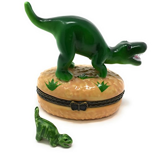 Dinosaur Hinged Lid Porcelain Trinket Box with Tiny Trinket Inside, By ArtGifts, 2.5
