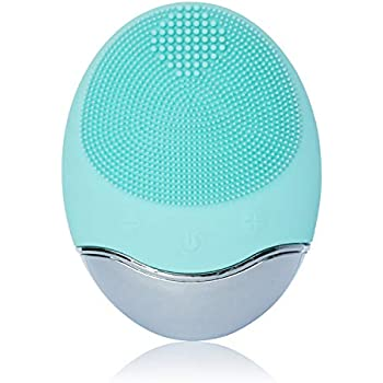 Sonic Facial Cleansing Brush, Soft Silicone Waterproof Face Cleanser Bamboo Charcoal Wireless Charging Travel Size Massager for Skin Exfoliation, Deep Cleansing, Anti Aging