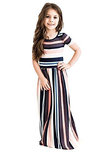 Feilvvv Children Kids Girls Color Block Striped Long Maxi Dress with Pockets Summer Beach Dresses 4-13 Years by Feilvvv