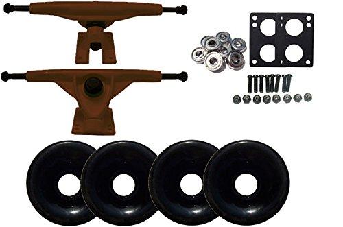 180 mmブラウンLongboard Trucks、70 mmブラックホイール、ABEC 7 Bearingsパッケージ B06XJ8R21T